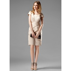 Sheath/Column Square Neckline Knee-Length Satin Kate Middleton Style With Ruffle (044020783)