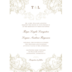 Vintage Style Flat Card Invitation Cards
