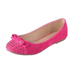 Suede Flat Heel Flats With Bowknot Rivet