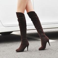 Kvinnor Mocka Stilettklack Knäkickkängor skor