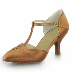 Women's Satin Heels Modern With T-Strap Dance Shoes