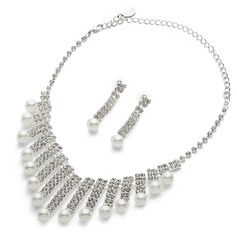 Beautiful Alloy/Pearl/Rhinestones/Silver Plated Ladies' Jewelry Sets