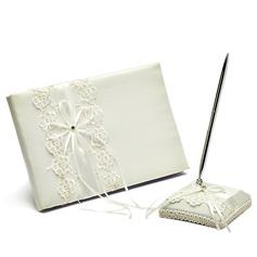 Pretty Satin Bow Guestbook/Pen Set