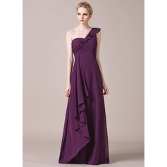 A-Line/Princess One-Shoulder Floor-Length Chiffon Bridesmaid Dress With Cascading Ruffles
