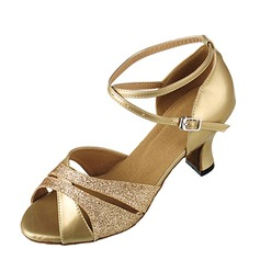 Women's Sparkling Glitter Heels Sandals Pumps Latin With Ankle Strap Dance Shoes