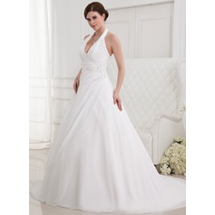 A-Line/Princess Halter Chapel Train Chiffon Wedding Dress With Ruffle Beading Appliques Lace