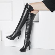 المرأة بو كعب ستيليتو مضخات منصة على الأحذية في الركبة مع سحاب أحذية (088140256)