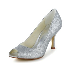 Women's Sparkling Glitter Stiletto Heel Peep Toe Sandals