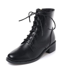Women's Leatherette Chunky Heel Boots Ankle Boots With Ribbon Tie shoes