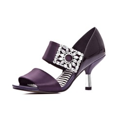 Real Leather Stiletto Heel Sandals With Rhinestone shoes