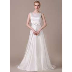 A-Line/Princess Scoop Neck Court Train Satin Wedding Dress With Beading Flower(s)