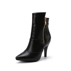 Women's Leatherette Stiletto Heel Ankle Boots With Ruched Zipper shoes