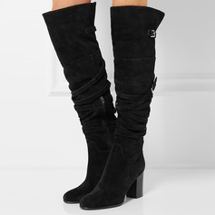Women's Suede Chunky Heel Pumps Boots With Buckle Zipper shoes