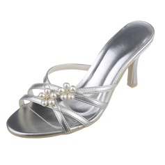 Women's Leatherette Stiletto Heel Peep Toe Pumps Sandals With Imitation Pearl