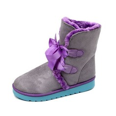Suede Flat Heel Ankle Boots Snow Boots With Ribbon Tie shoes
