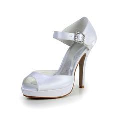 Women's Silk Like Satin Stiletto Heel Peep Toe Sandals With Buckle Rhinestone