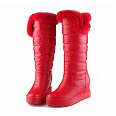 Women's Leatherette Flat Heel Wedges Knee High Boots With Fur shoes (088103915)