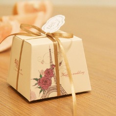 Pretty Floral Theme Favor Boxes With Ribbons (Set of 12)