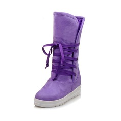 Women's Suede Flat Heel Snow Boots With Braided Strap shoes