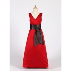 A-Linie/Princess-Linie V-Ausschnitt Bodenlang Satin Kleid für junge Brautjungfern mit Schleifenbänder/Stoffgürtel