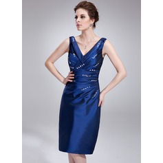 Sheath/Column V-neck Knee-Length Taffeta Cocktail Dress With Ruffle Beading