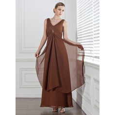 Empire V-neck Ankle-Length Chiffon Bridesmaid Dress With Beading Cascading Ruffles