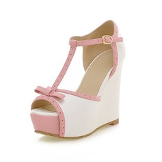 Leatherette Wedge Heel Sandals Peep Toe With Bowknot shoes