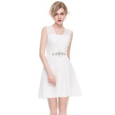 A-Line/Princess V-neck Short/Mini Chiffon Cocktail Dress With Ruffle Beading Sequins