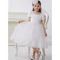 A-Line/Princess Knee-length Flower Girl Dress - Polyester/Cotton Short Sleeves Scoop Neck With Lace