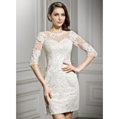 Sheath/Column Scoop Neck Short/Mini Lace Wedding Dress