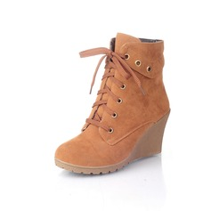 Suede Wedge Heel Ankle Boots shoes