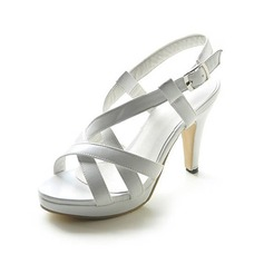 Leatherette Stiletto Heel Platform Slingbacks Sandals With Buckle (087013052)