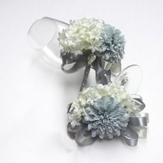 Gorgeous Ribbon/Artificial Silk Flower Sets (set of 2) - Wrist Corsage/Boutonniere