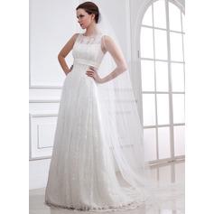A-Linie/Princess-Linie U-Ausschnitt Sweep/Pinsel zug Tüll Brautkleid mit Spitze Perlen verziert