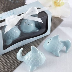 """Kissing Fish"" Ceramic Salt & Pepper Shakers With Ribbons"