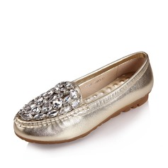 Real Leather Patent Leather Flat Heel Closed Toe Flats With Rhinestone