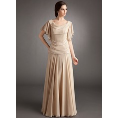 A-Line/Princess Cowl Neck Floor-Length Chiffon Mother of the Bride Dress With Beading Cascading Ruffles