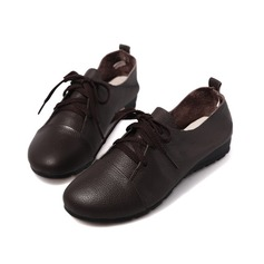 Real Leather Flat Heel Flats Closed Toe With Lace-up shoes (086042583)