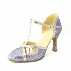 Women's Sparkling Glitter Heels Pumps Latin With T-Strap Dance Shoes
