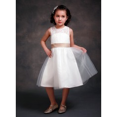 A-Line/Princess Tea-length Flower Girl Dress - Lace/Tribute silk Sleeveless Scoop Neck With Bow(s)