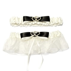 2-Piece Fashion Satin Organza With Rhinestone Wedding Garters