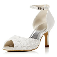 Women's Lace Satin Stiletto Heel Peep Toe Pumps Sandals With Buckle