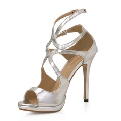 Patent Leather Stiletto Heel Sandals Platform Peep Toe shoes