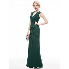Sheath/Column V-neck Floor-Length Chiffon Evening Dress With Cascading Ruffles