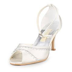 De mujer Satén Tacón Stilettos Encaje Sandalias con Diamantes de imitación
