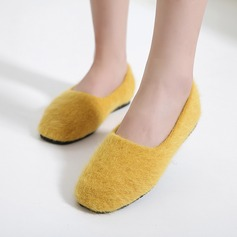 Women's Suede Flat Heel Flats Closed Toe With Bowknot Fur Split Joint shoes