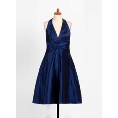 A-Linie/Princess-Linie Träger Wadenlang Taft Kleid für junge Brautjungfern mit Rüschen