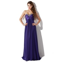 Empire Sweetheart Floor-Length Chiffon Charmeuse Prom Dress With Ruffle Beading