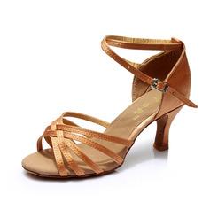 المرأة صقيل كعوب صنادل لاتينية مع رباط الكاحل أحذية رقص