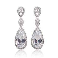 Einzigartige Kupfer/Zirkonia Damen Ohrringe